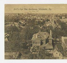 Bird's eye view Residences, Winchester, KY :: Ronald Morgan Postcard Collection Clark County, Birds Eye View, Historical Photos, Small Towns, Winchester, Old Houses, Genealogy, Kentucky, Natural Beauty