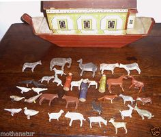 ANTIQUE 1800's German ERZGEBIRGE Wooden NOAH'S ARK FOLK ART