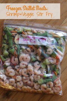 Freezer Skillet Meal: Shrimp and Veggie Stir Fry