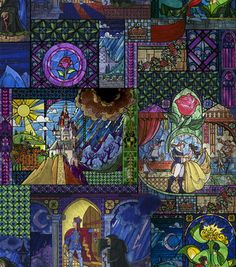 Patchwork Quilting Sewing Fabric BEAUTY AND THE BEAST WINDOW Panel 90x110cm New