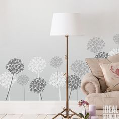 Allium floral Home Decor & craft stencil. Ideal for home wall decorating. Paint beautiful Allium patterns on your walls for instant results. Buy on line at Ideal Stencils Ltd.