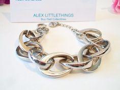 Alfani Chunky Oval Link Bracelet Silver Tone