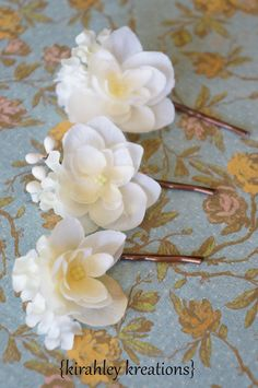 LYNNETTE  Delicate Ivory Flower Blooms Bride by KirahleyKreations
