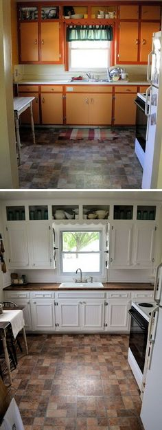 Wow, what a transformation. It's light, bright and very charming. I love that they replaced the cabinet facing and replacing of wood counter tops which gives a worm and rustic look fitting the tiles very much. The ugly outdated kitchen now is pretty stylish with the minimal remodeling. See how to feature it