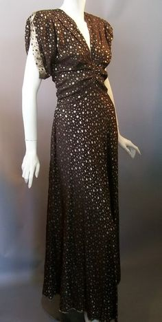 Cocoa and gold polka dot evening gown, 1930s. Dorothea's Closet Vintage archives.