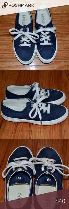 Ralph Lauren Jolie Sneakers, Navy Suede, Size 6.5 Worn just once; like new. Gorgeous navy suede with RL monogram on tongue and delicate silver hardware. They run slightly large, so they could also fit a size 7! Ralph Lauren Shoes Sneakers