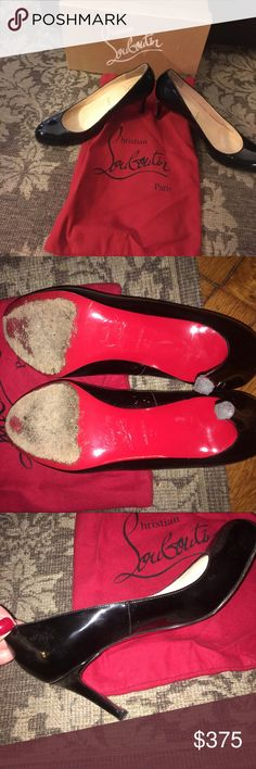 Authentic Christian Louboutin Pumps (size 7) originally bought at saks fifth avenue. 70mm heel. small scratch on heel. red bottoms look used - see pic. black patent leather. comes with original box and dust bag Christian Louboutin Shoes Heels