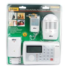 Protect your home, business, and loved ones with the HomeSafe wireless Home Security alarm system complete with motion sensor, remote, magnetic/vibration sensor and dialer Home Security Alarm System, Home Security Tips, Wireless Home Security Systems, Security Solutions, Safety And Security, Security Cameras For Home, Security Products, Video Security, Security Guard