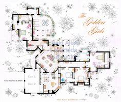 The Golden Girls house floorplan, via Etsy. This guy has so many tv floor plans.