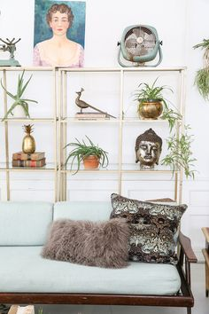 Our gold book case decked out with brass + plants. | Patina