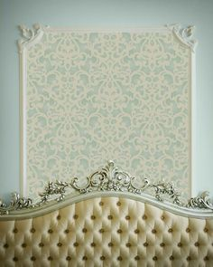 The Donatella Damask Stencilis a beautiful allover stencil pattern that gives you an elegant, lacy design on stenciled walls, fabric, or furniture. This gorgeo