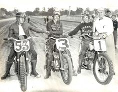 Flat track racers Bobby Hill, Al Gunter and Paul Goldsmith after motorcycle racing at Indianapolis in 1952.