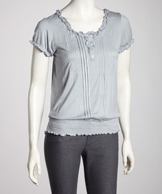 Take a look at this Gray Pleated Ruffle Short-Sleeve Top on zulily today!