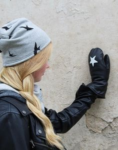 WOMENS LEATHER MITTENS Black/White Star by somaoriginal on Etsy