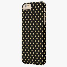 Cute iPhone 6 Case! This Elegant Black Gold Glitter Polka Dots Pattern Barely There iPhone 6 Plus Case can be personalized or purchased as is to protect your iPhone 6 in Style!