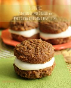 Pumpkin Quinoa Cookie with white chocolate cream cheese filling is also gluten free!  by www.whatscookingwithruthie.com #recipes #cookies #glutenfree