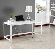 Kings Brand White Tempered Glass Home Office Computer Desk -- Details can be found by clicking on the image.Note:It is affiliate link to Amazon.