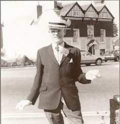 "Horace in Shoreham - The ""man on the bike"" usually wearing a straw hat, monocle, white gloves and plus-fours would wave to passers by along the coast."
