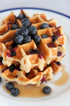These homemade buttermilk blueberry waffles are light, fluffy, and super delicious. Made from scratch with fresh blueberries and served with maple syrup. Homemade Waffles, Homemade Buttermilk, Waffle Recipes, Brunch Recipes, Brunch Ideas, Breakfast Ideas, Beef Recipes, Dinner Recipes, Frozen Waffles