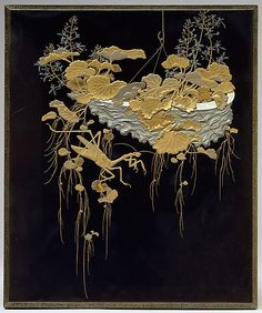 Lacquer Writing Box with Design of Flowers and Praying Mantis, Meiji period (1868–1912), Japan