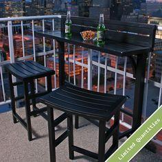 The Balcony Bar 3 Piece Furniture - Balkon Architektur - Balcony Furniture Design Apartment Balcony Decorating, Apartment Balconies, Apartment Patios, Apartment Backyard, Condo Balcony, Bedroom Balcony, Cozy Apartment, Apartment Design, Apartment Therapy