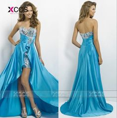 $115.50  High Low Prom Dresses Sweetheart Evening Gowns 2016 Blue Silver Pink Graduation Dress for Girls Vestido Formatura