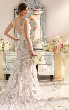 Vision in Vintage: Essense of Australia Style D1639. Lace over Lustre Satin modern vintage wedding dress features a scalloped Lace neckline and low back. #EssenseBride #WeddingDress