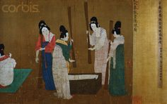 Court Ladies Preparing Newly Woven Silk attributed to Song Huizong;  Detail of handscroll after Tang Dynasty Original, Ink and color on silk;  Song Dyansty