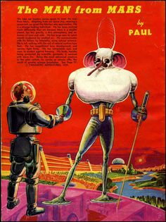 The Man From Mars - painting by Frank R. Paul, from Fantastic Adventures, 1939.
