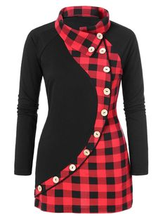 Plus Size Plaid Print Button Embellished T-shirt - Black - 4464893612 Size L - Pullover Big Girl Fashion, Curvy Fashion, Plus Size Fashion, Style Fashion, Fashion Site, Mens Fashion, Fashion 2018, Fashion Boots, Fashion Online