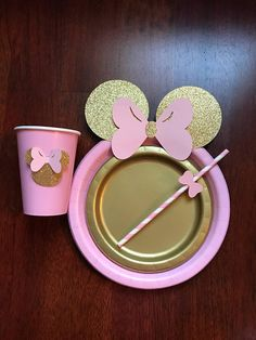10 Light Pink Gold Glitter Minnie Mouse Birthday Table set