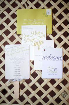 Chartreuse Gray Letterpress Wedding Invitations