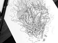 underwater in ink drawing - Google Search Coral Design, Inktober, Underwater, Sketches, Sketch Ideas, Coral Reefs, Corals, Tattoos, Drawings