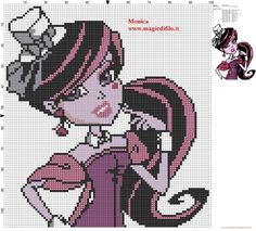 Draculaura (Monster High) cross stitch pattern designed by Monica