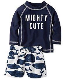 2bb4799402 Carter's Baby Boys' 2-Pc. Mighty Cute Rash Guard & Shorts Set | boy ...