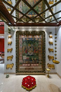 Jewelry OFF! A luxury Jewelry Boutique - Madhuban by Manubhai Jewellers Indian Home Interior, Indian Interiors, Indian Home Decor, Luxury Home Decor, Manubhai Jewellers, Pichwai Paintings, Mandir Design, Pooja Room Door Design, Ethnic Decor
