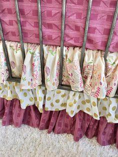 Wreathed Crib Skirt, Plum Girl Crib Bedding, Gold Dot Ruffled Crib Skirt, Gold Girl Crib Skirt, Dust Ruffle
