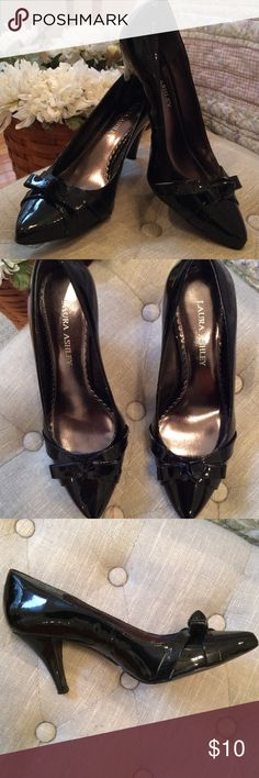 "Laura Ashley Black Heels Wore a few times but do have some scuffs and a Knick as shown in the last  three pictures.  You really don't notice them when you are wearing them but they are there, so I have them priced accordingly.   2 1/2"" heel. Size 6 1/2 M. Laura Ashley Shoes Heels"