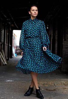 Vintage Long Sleeved Floral Midi Dress
