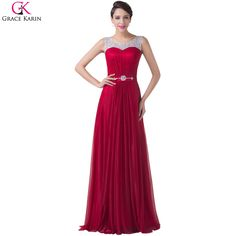 Robe De Soiree Long Grace Karin Red Evening Dresses Sleeveless Beaded Satin Events Formal Gowns Elegant Evening Dress For Party