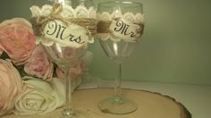rustic wedding glasses mr and mrs glasses bride and groom burlap and lace wedding vintage lace on Etsy, $35.00