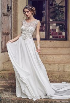 anna campbell 2019 bridal cap sleeves v neck heavily embellished bodice glitzy romantic soft a line wedding dress backless scoop back chapel train (3) mv -- Anna Campbell 2019 Wedding Dresses | Wedding Inspirasi #wedding #weddings #bridal #weddingdress #bride ~