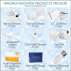 Check out the latest Nworld price list covering our Nlighten and Nhance products. We accept local and international orders. Nlighten Products, Lighten Skin, Skin Care Cream, Facial Cream, Eye Gel, Price List, Facial Cleanser, Aesthetic Pictures, Whitening