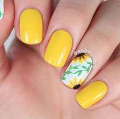 99 Enchanting Yellow Nail Art Ideas For Summer - - Jewelry, Hair, & Nails - Rhett Butler, Cute Nail Art Designs, Short Nail Designs, Spring Nails, Summer Nails, Bright Red Nails, Yellow Nail Art, Almond Acrylic Nails, Nagellack Trends