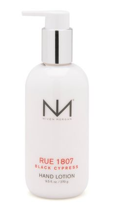 Niven Morgan Rue 1807 Hand Lotion - Rue 1807 evokes the intense desire of life. The seductive soul of New Orleans is magical and mystical. Niven Morgan's first men's fragrance captures this with notes of Absinthe and Bourbon, Cypress and Moss, Vetiver and Incense. This dark, spicy, and passionate elixir is the essence of Rue 1807. Find Niven Morgan bath and body products at mrsunscreen.com