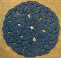 recycled climbing rope braided rug