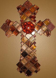 Mosaic Cross  The Royal Metallic Series by BrokenBeautyMosaics, $59.00