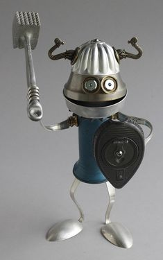 Found Object Robot Assemblage Viking Sculpture By Brian Marshall - assemblage art Arte Robot, Robot Art, Recycled Robot, Recycled Art, Scrap Metal Art, Metal Tree Wall Art, Metal Animal, Sculpture Metal, Art Sculptures