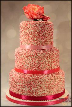 Sprinkles Wedding Cake with sugar peony topper