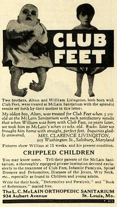 1923 Ad L C McLain Orthopedic Sanitarium Children with Disabilities Club Feet